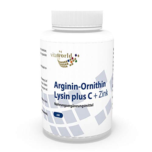 Pack de 3 Arginina - Ornitina - Lisina + Vitamina C & Zinc 3 x 60 Cápsulas Vita World Farmacia Alemania - Aminoácidos