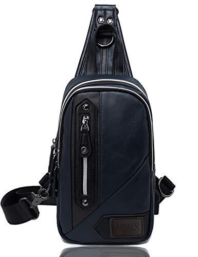 ARIALK 斜めがけ ボディバッグ メンズ バッグ レザー バック 肩掛けバッグ iPadmini USB 通勤 通学 ショルダー付替え可能 (ネイビー)