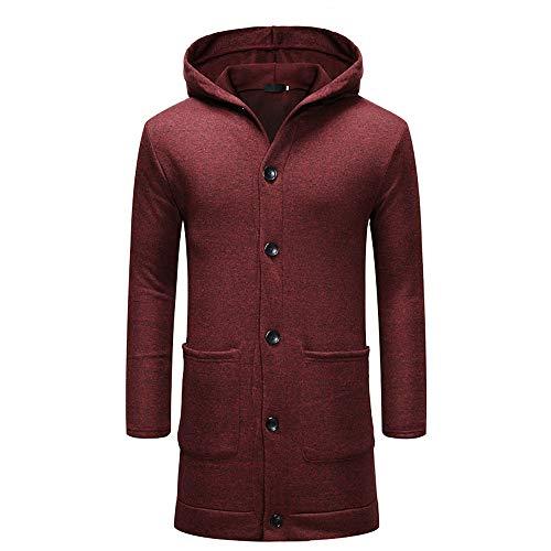 UFODB Herren Strickjacke Winter Langarm Mit Kapuze Hoodie Jacke Coat Slim Button Fashion Outwear Kapuzenpullover Trenchcoat Parkajacke Kapuzenmantel Mantel