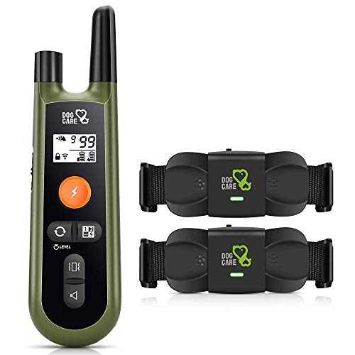 DOG CARE Dog Training Collar with Remote - Rechargeable Dog Shock Collar w/3 Training Modes, Beep, Vibration, Shock, 1000Ft Range, 2 Receivers Dog Collar for Large Medium Small Dogs, Safe & Humane