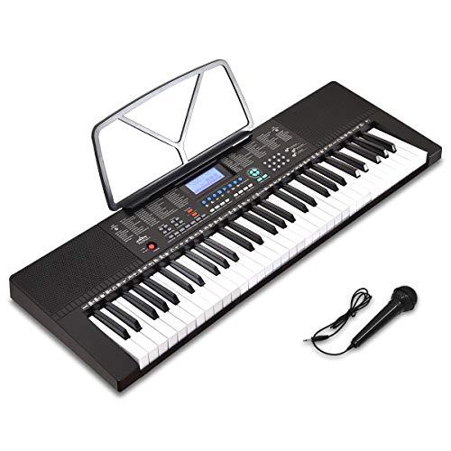 RiZKiZ 電子キーボード 【61鍵盤】 350種類の楽器音色 リズム 61種類のキーボードパーカッション マイク付 LCDディスプレイ 自動伴奏 録音 レコーディング ピアノ 練習 趣味