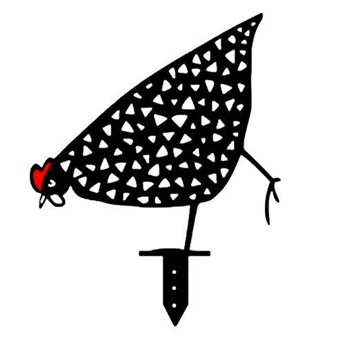 Ryoizen Chicken Yard Art Gartenschilder, Hahn Metall Tier Silhouette Pfahl, Huhn Silhouette Hof Zeichen Land Für Rasen Weg Bürgersteig Lustig Garten Dekoration(2#)