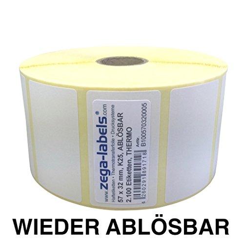 Thermo Etiketten auf Rolle - 57 x 32 mm - 2.100 Stück je Rolle - Kern: 25 mm - aussen gewickelt - WIEDER ABLÖSBAR - Druckverfahren: Thermodirekt (Drucken ohne Farbband)