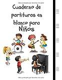 Cuaderno de partituras en blanco para Niños: Cuaderno de papel manuscrito 5 duelas grandes por página, 6 niños (8.5 'x11', 110 páginas) (Compositor Infantil)