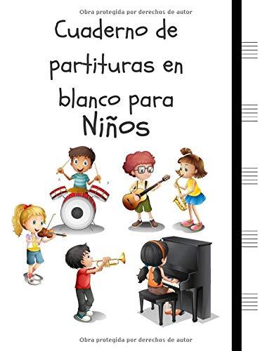 """Cuaderno de partituras en blanco para Niños: Cuaderno de papel manuscrito 5 duelas grandes por página, 6 niños (8.5 """"x11"""", 110 páginas) (Compositor Infantil)"""