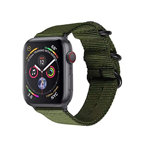 Leetoyi Nylon Replacement Correa Compatible con Apple Watch Series SE/6/5/4/3/2/1 (Verde, 42MM/44MM)