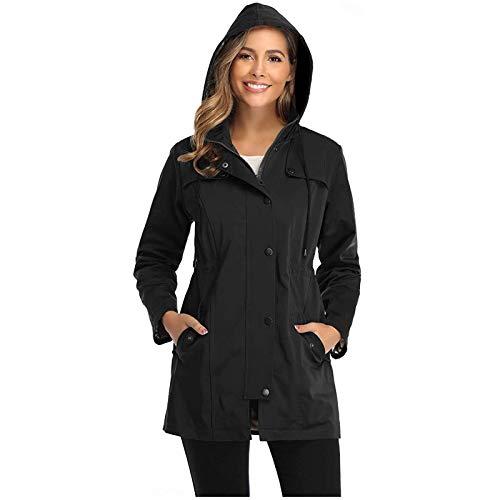 Women's Hooded Rain Jacket Zipper & Buttons Closure Waterproof Windbreaker Transition Jacket Breathable Outwear Jackets for All Seasons Black