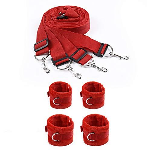 Bett-Rückhaltesystem für Sex Verstellbare Matratzen-Rückhaltevorrichtung mit Manschetten für Knöchelgelenke rot