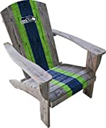 "Officially licensed NFL adirondack chair Distressed wood with team color painted on stripes and logo Easy to assemble Adds some team spirit to your patio or backyard 37. 5""L x 34""W x 30. 5""H"