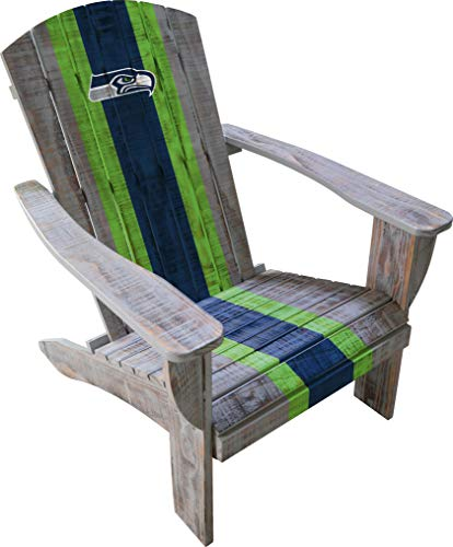 Imperial Officially Licensed NFL Furniture: Distressed Wooden Adirondack Chair, Seattle Seahawks