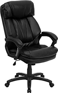 Flash Furniture High Back Black Leather Executive Swivel Ergonomic Office Chair with Plush Headrest, Extensive Padding and Arms