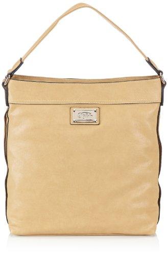 Buffalo Damen Bag QE352-4 PU W873-42 Schultertaschen, Grau (Taupe 01), 37x35x10 cm