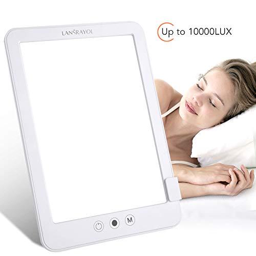 Lanrayol Energy Up Lichttherapielamp, daglichtlamp met 3 helderheidsniveaus, 10000 lux, traploos dimlicht, simuleert daglicht ter verlichting van de depressie, verbetering van het humeur