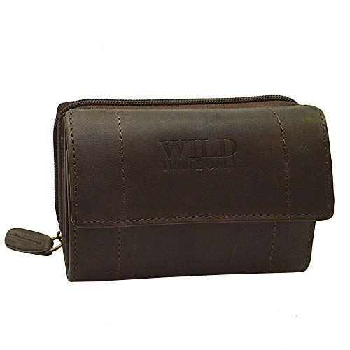 Vintage Portemonnaie Damen Wild Leder Geldbeutel in 9 Farben mit RFID (Braun)