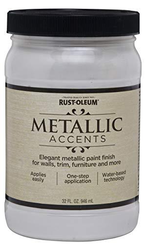 Rust-Oleum 253611 Metallic Accents Paint, Quart, White Pearl