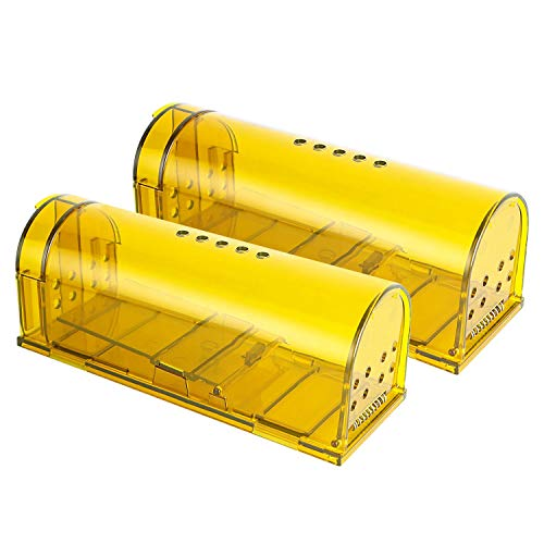 LucaSng Trampa para Ratones, Trampa para Ratas Ratonera de Plástico con Diseño de Cola Anti-Roto y Agujeros de Aire, Reutilizable y Fácil de Limpiar para Cocina, Jardín, Hogar, Oficinas, Campo