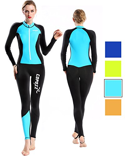 COPOZZ Diving Skin, Men Women Youth Thin Wetsuit Rash Guard- Full Body UV Protection - for Diving Snorkeling Surfing Spearfishing Sport Skin (Black/Blue, X-Large for Women)