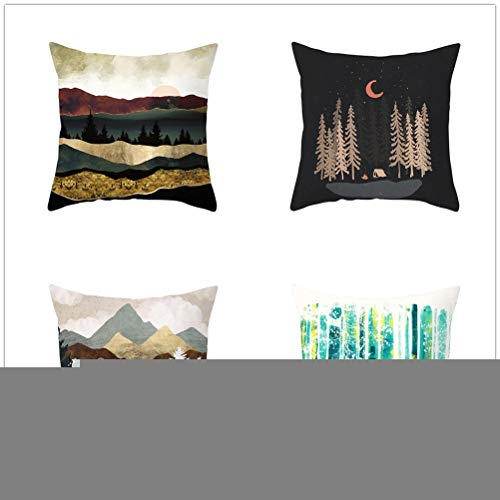 Set of 4 Pcs Throw Pillow Case Cushion Covers Colorful Mountain Velvet Soft Superfine Fiber Square Decorative Throw Pillowcases for Living Room Sofa Car with Concealed Zip E3654 60x60cm/23.4x23.4in