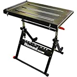Product Image of the Strong Hand Tools, Nomad, Steel Welding Table, Three 1.1″ (28mm) Tabletop Slots, Adjustable Angle & Height, Casters, Retractable Guide Rails, Eccentric Leveling Foot, TS3020, Black