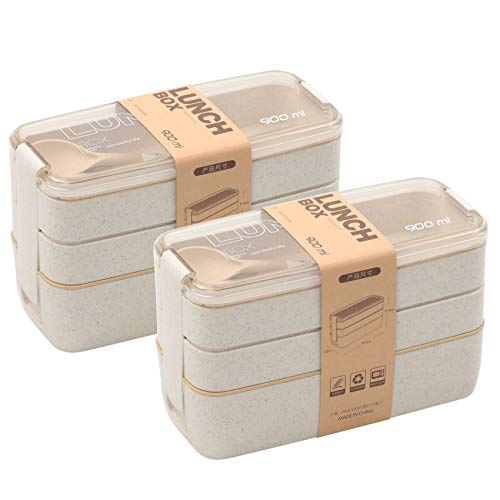 2 PACK Bento Box Japanese Lunch Box, 3-In-1 Compartment, Wheat Straw, Leak-proof Eco-Friendly Bento Lunch Box Meal Prep Containers for Kids and Adults (Beige)