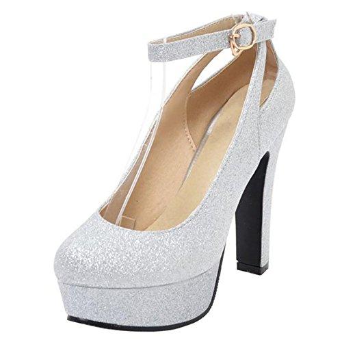 Zysiax Zapatos para Mujer, Zapatos Sequins Tacón Alto Pump Plataforma Tacón Ancho Pump Correa De Tobillo Primavera Fiesta Zapatos Plateado Talla 41 EU/43CN