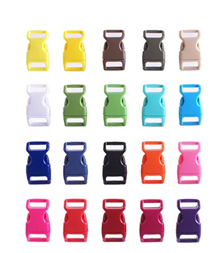 HONGCI 50PCS Assorted Colors Contoured Side Release Plastic Mini Buckles 3/8 Inch for Paracord Bracelets, Dog Collar, Webbing, Bushcraft, Backpack Accessories, Tent (Multicolour)
