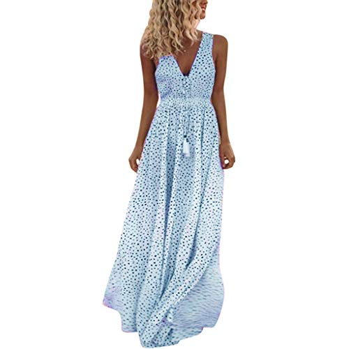 Fenverk Frauen Einstellbare TräGer Spitze Weiß V-Ausschnitt äRmellos Lange Maxi Kleid Kleider Damen Sommerkleider Cardigan Beach Badeanzug Strandkleid(A Blau,XXL)