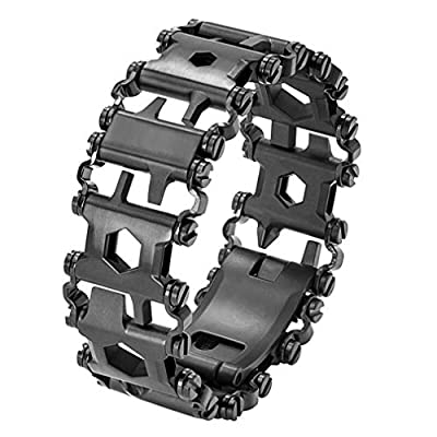 LZIYAN Multi Tool Bracelet Stainless Steel Screwdriver Wrench Bracelet for Hiking Camping Travel,Black