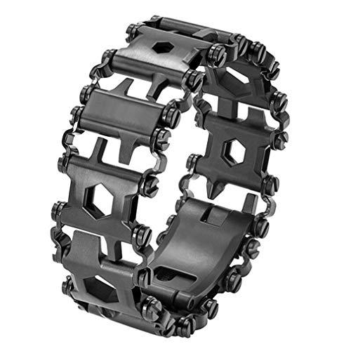 LZIYAN Multi Tool Bracelet Stainless Steel Screwdriver Wrench Bracelet for Hiking Camping Travel,Black