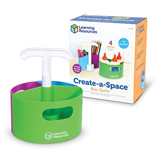 Learning Resources Create-a-Space Storage Mini Center, Classroom Craft Keeper, Maker Space, Small Space Storage, Teacher Organizer, Home School Accessories, 4 Piece Set