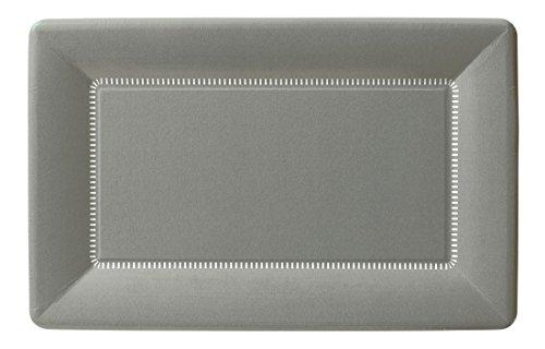 Ideal Home Range PRK10005 IHR Zing Pappteller, rechteckig, 23 x 14 cm, silberfarben