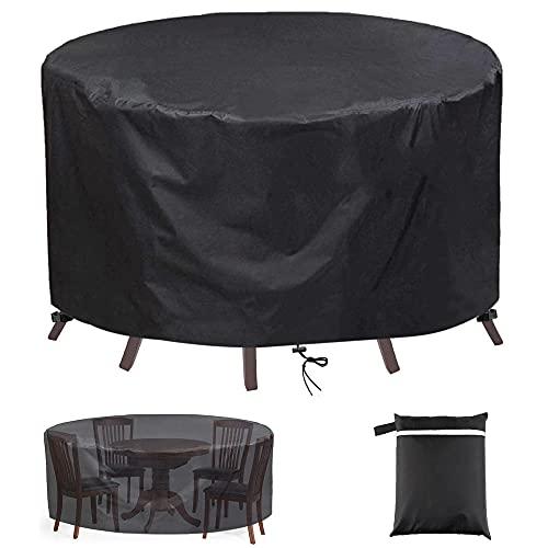 Fundas Impermeables para Muebles de Jardín,Redonda Copertura Funda Mesa de Exterior 420D Oxford Impermeable Anti-UV Resitente al Polvo,para Dinning Table Chairs Patio Muebles-Negro_80x100cm