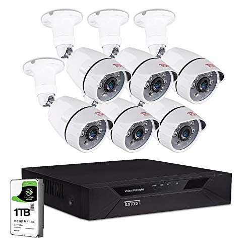 Tonton Home Security Camera System Outdoor,8CH Full HD 1080P Surveillance Video DVR Recorder with 1TB HDD and 6PCS 2MP 1920TVL Waterproof CCTV Bullet Camera,Easy Remote View,Free App&Email Alerts