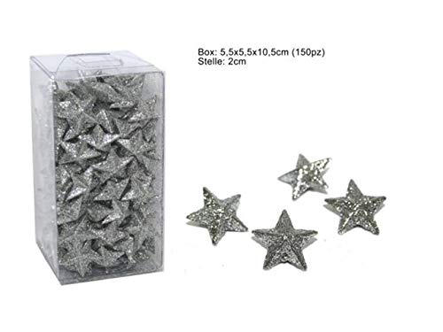 DUE ESSE CHRISTMAS S.r.l. Box 150 Stelle Decorative col Silver Argento Glitter cm 2