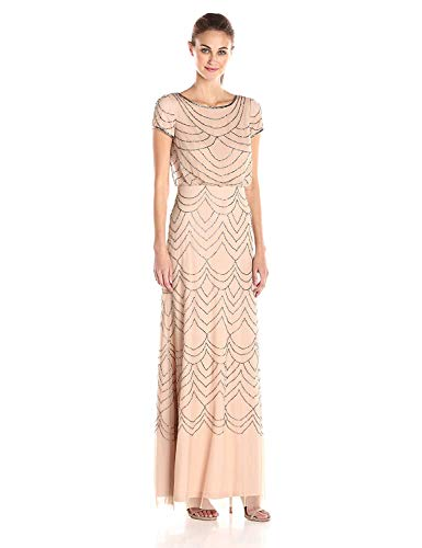 Adrianna Papell Women's Short Sleeve Blouson Beaded Gown, Taupe/Pink, 6 (Apparel)