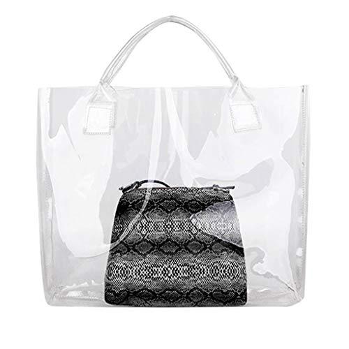Luckycat Mujer de Bolsos de Mano Impermeable Mitad Transparentes Bolsa de Mano, Bolso de Playa del PVC y Poliester con el Bolso Cosmetico Pequeno