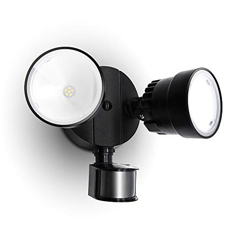 Exterior Security Wall Light for Patio 5000K Daylight Yard-Black Dusk to Dawn Garden LUTEC 32W 2500 Lumen LED Motion Activated Integrated Dual-Head Floodlight Outdoor with Motion Sensor