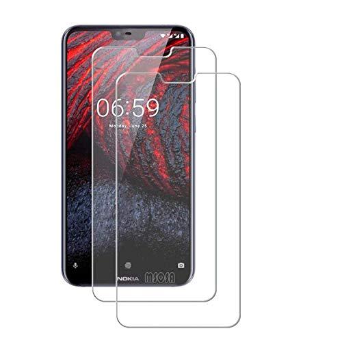 MSOSA Kompatibel mit Panzerglas Nokia 6.1 Plus Schutzfolie, [2 Stück] 9H Härte Panzerglasfolie HD Displayschutzfolie Vollständige Abdeckung Glas Folie für Nokia 6.1 Plus