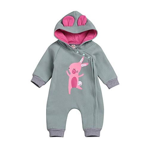 Borlai Mono con Capucha para recién Nacido, de Manga Larga, cálido, para bebés de 0 a 24 m [Conejo Bailando]