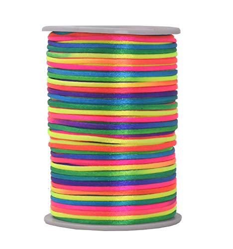 Mandala Crafts Satin Rattail Cord String from Nylon for Chinese Knot, Macramé, Trim, Jewelry Making (Rainbow, 2mm)