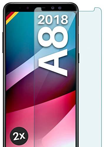 moex Panzerglas kompatibel mit Samsung Galaxy A8 (2018) - Schutzfolie aus Glas, bruchsichere Bildschirmschutz Folie, Crystal Clear Panzerglasfolie, 2X Stück