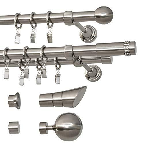 TEXMAXX® Classic Duo Edelstahl Gardinenstange Vorhangstange 240 cm - 2-läufig - Ø 19mm Rohr - inkl. 3 x Wandhalter 4 x Endstücke 2 x Verbindungsstück und 48 x Gardinenringe - einfache Montage