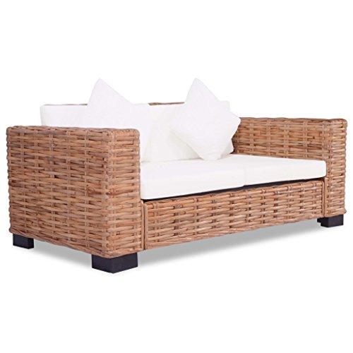 SENLUOWX Zwei-Sitzer aus natürlichem Rattan