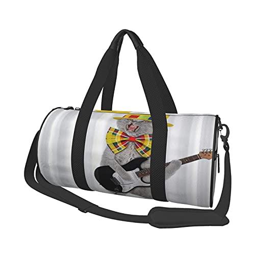 ADONINELP Bolsa de Viaje Tote Duffel Bag Funny Cat con Guitarra eléctrica,...