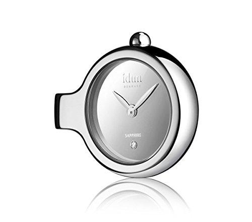 Idun Denmark - Pendant Charm-Watch mit Spiegel-Zifferblatt und einem weißen Stein - DCW1100