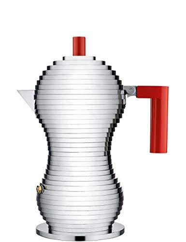 Alessi MDL02/3RFM Pulcina Espressomaschine - Gußaluminium. Griff und Knopf - PA, rot. Magnetboden - 3 Tassen