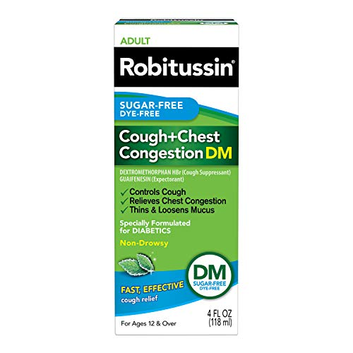 Robitussin Sugar-Free Dye-Free Cough + Chest Congestion DM Adult Cough + Congestion Relief Liquid 4 fl. oz. Box