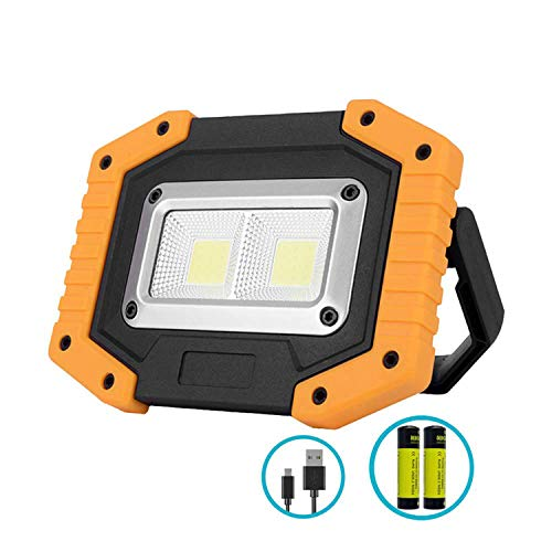 Portable LED Work Light,XQOOL Rechargeable COB Work Lamp Waterproof LED Flood Light with Stand Built-in Power Bank Job Light for Indoor Outdoor Lighting (YELLOW/1PACK)