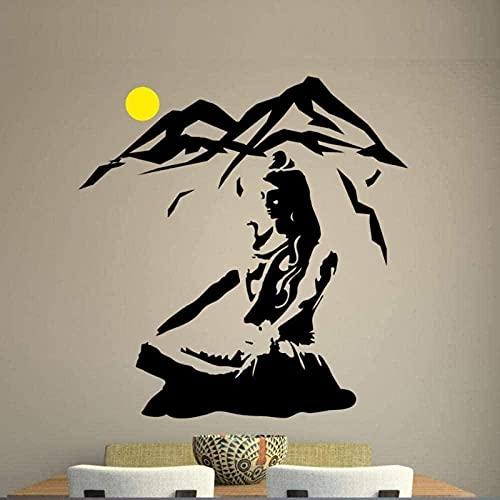 Pegatinas de pared calcomanías Yoga Lotus Pose vinilo flor montaña meditación arte extraíble 60x57 cm decoración de la pared del hogar Mural