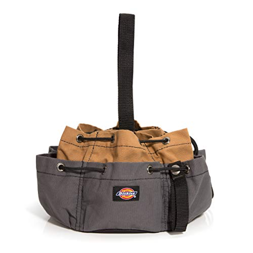 Dickies 12-Pocket Drawstring Tool Bag, Grey/Tan